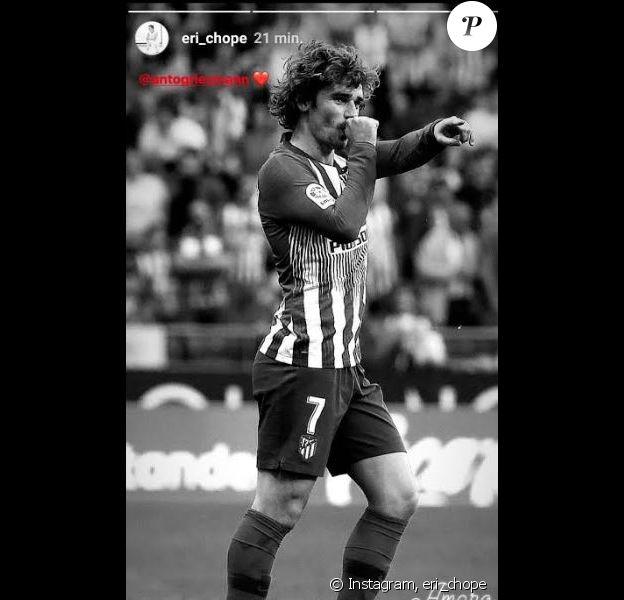Erika Choperena a publié une photo d'Antoine Griezmann célébrant la naissance de leur fils Amaro sur le terrain, lors du match Atlético Madrid-Celta Vigo le 13 avril 2019.