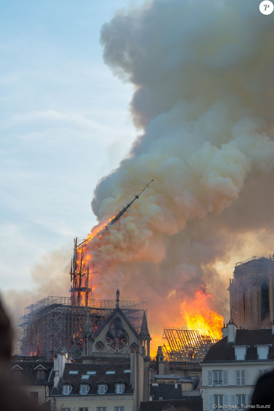 Incendie de la cathédrale Notre-Dame de Paris, le 15 avril 2019. © Thomas Busuttil / Bestimage