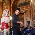 """Exclusif - Bilal Hassani dévoile son album en exclusivité à ses fans à l'Hôtel de Ville de Paris, France, le 24 avril 2019. Son premier album """"Kingdom"""" sort le vendredi 26 avril 2019. Bilal interprétera sur la scène de l'Eurovision, le 18 mai prochain à Tel Aviv le titre """"Roi"""". © Denis Guignebourg/Bestimage"""