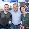 Exclusif - Philippe Monneret et Alessandra Sublet - Alessandra Sublet, qui a récemment passé son permis Moto, a assisté pour la première fois à la 42e édition des 24 Heures Motos ce week-end. Après être venue de Paris en moto, elle a pu découvrir les coulisses de cet événement. Son programme a été intense : baptême de piste sur le circuit Bugatti, parade, rencontre de l'équipage 100% féminin (le Girls Racing Team avec notamment la jeune M. Coignard) et de Lil'Viber qui a participé à la Women's Cup. Elle a également pu passer des nombreux moments avec les spectateurs venus en nombre ou encore assister à un relais de nuit dans le team Suzuki. Le Mans du 19 au 20 Avril 2019. © Cyril Moreau / Bestimage