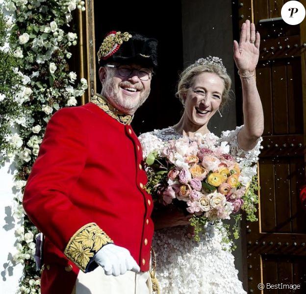 La princesse Alexandra de Sayn-Wittgenstein-Berleburg avec le comte danois Michael Preben Ahlefeldt-Laurvig-Bille, la princesse Benedikte de Danemark - Mariage de la princesse Alexandra de Sayn-Wittgenstein-Berleburg avec le comte danois Michael Preben Ahlefeldt-Laurvig-Bille à Svendborg au Danemark le 18 mai 2019.