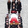 Le président Emmanuel Macron, la première dame Brigitte Macron (Trogneux), Françoise, la femme de Jean d'Ormesson, Héloïse, sa fille, Marie-Sarah, sa petite fille lors de la cérémonie d'hommage national à Jean d'Ormesson à l'hôtel des Invalides à Paris le 8 décembre 2017. © Stéphane Lemouton / Bestimage