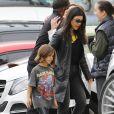 Kourtney Kardashian et sa fille Penelope Disick - Les Kardashians arrivent à la messe dominicale de K.West à Los Angeles, le 26 mai 2019.