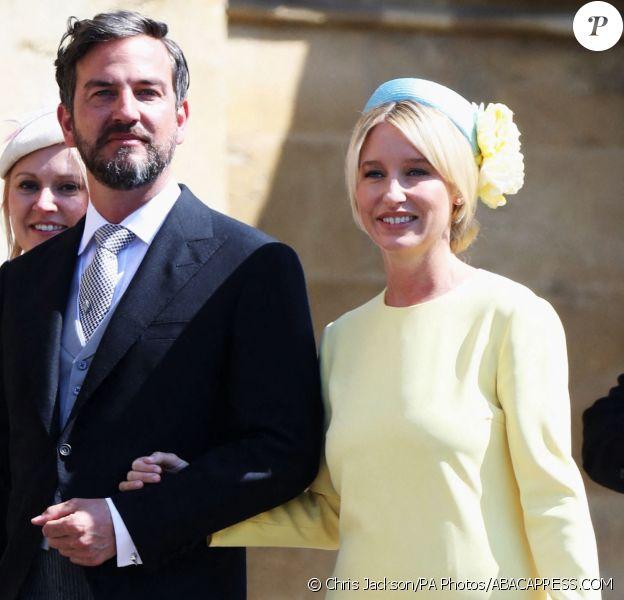 Izzy May, attachée de presse de David Beckham et ici au bras de Markus Anderson le 19 mai 2018 à Windsor lors du mariage de Meghan Markle et du prince Harry, est devenue l'une des plus proches confidentes de la duchesse de Sussex depuis son installation en Grande-Bretagne en 2017. ©Chris Jackson/PA Photos/ABACAPRESS.COM