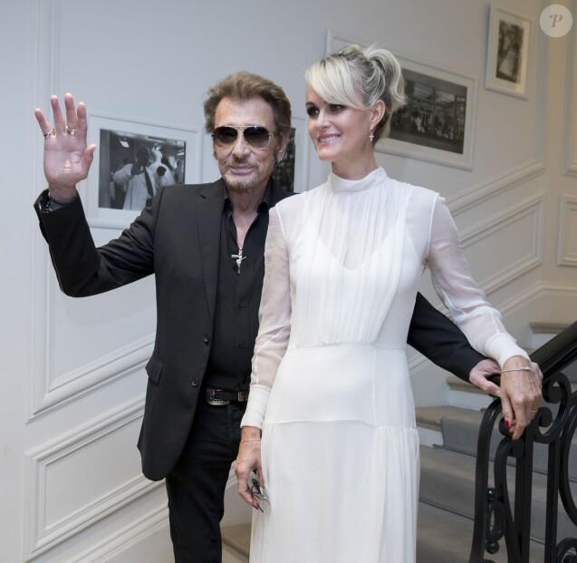 """Johnny Hallyday et sa femme Laeticia Hallyday au défilé de mode Haute-Couture automne-hiver 2016/2017 """"Christian Dior"""" à Paris. Le 4 juillet 2016 © Olivier Borde / Bestimage"""