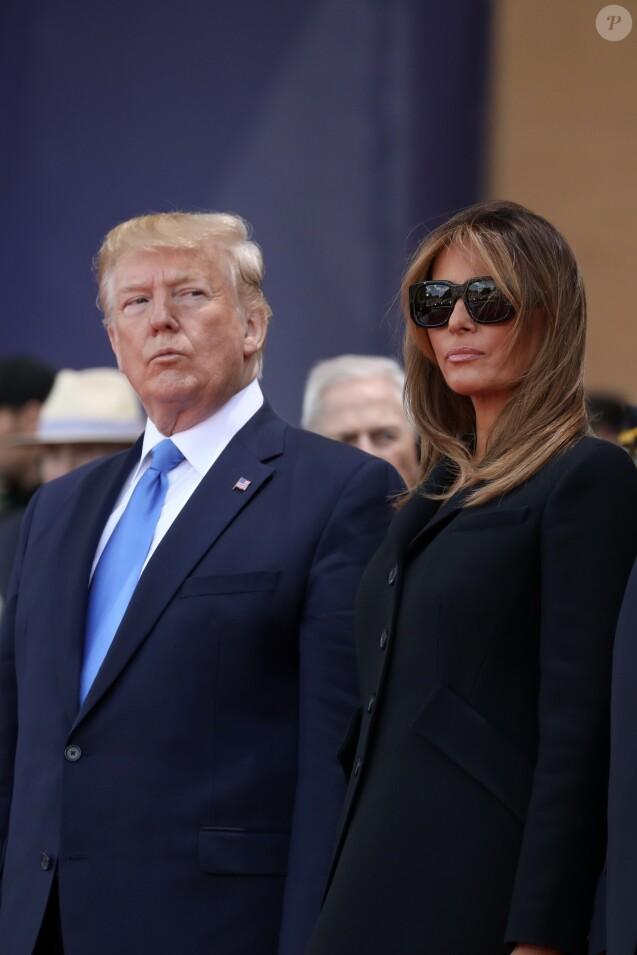 Le président Donald Trump, Melania Trump lors de la cérémonie franco - américaine au cimetière américain de Colleville sur Mer le 6 juin 2019 dans le cadre du 75ème anniversaire du débarquement. © Stéphane Lemouton / Bestimage