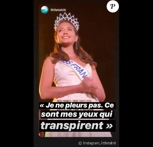 Vaimalama Chaves émue aux larmes lors de l'élection de Miss Tahiti 2019 le 21 juin 2019.