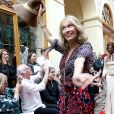 """Marianne Bassler - Défilé """"Over Fifty... et alors !"""" à la galerie Vivienne à Paris le 17 Juin 2019. C'est sous les ors de la galerie Vivienne que la styliste Nathalie Garçon, initiatrice de l'association """"Over fifty...et alors"""", a organisé un défilé de mode afin de faire évoluer la visibilité et le regard porté sur les femmes de plus de cinquante ans. © Dominique Jacovides/Bestimage"""