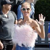 Céline Dion à Paris : top à plumes et combi moulante par 40 degrés