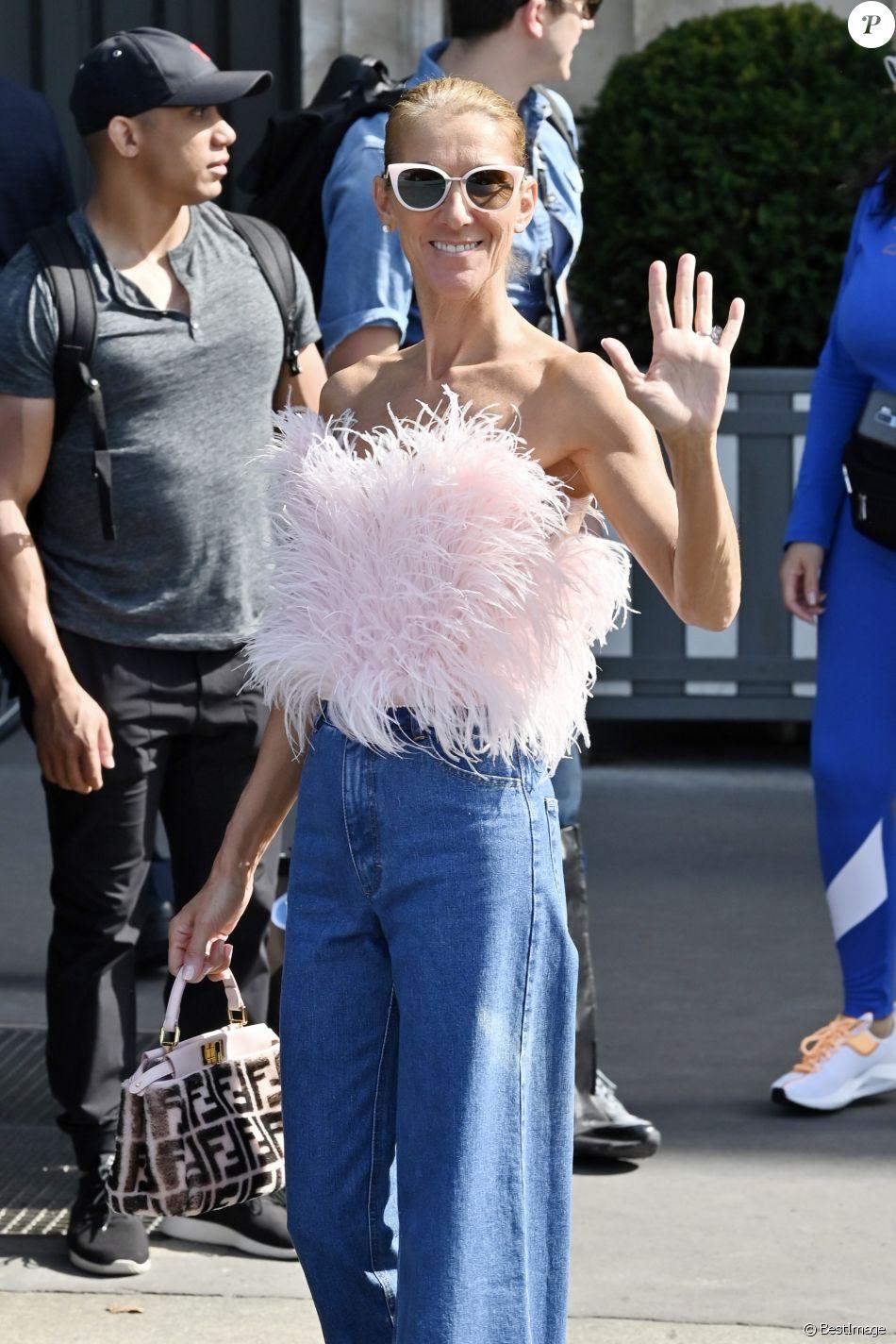 Céline Dion à la sortie de l'hôtel Crillon à Paris. Le 28 juin 2019