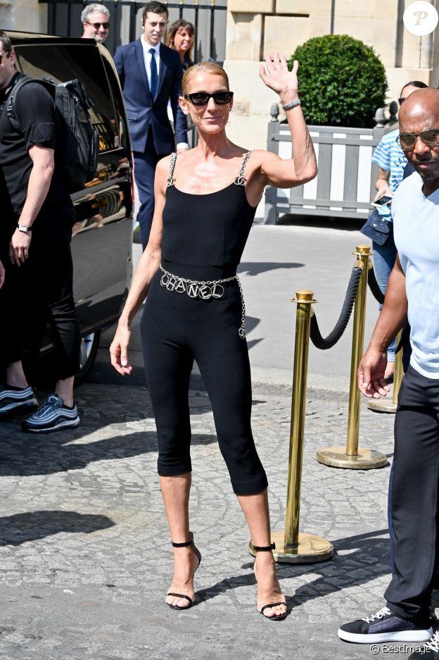 Céline Dion à la sortie de l'hôtel de Crillon à Paris le 27 juin 2019.