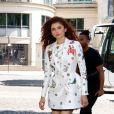 """Exclusif - Zendaya (habillée en """"Schiaparelli"""") dans les rues de Paris lors de la fashion week, le 2 juillet 2019."""