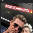 Benjamin Castaldi et son fils Enzo au match PSG - Angers - Instagram, 25 août 2018