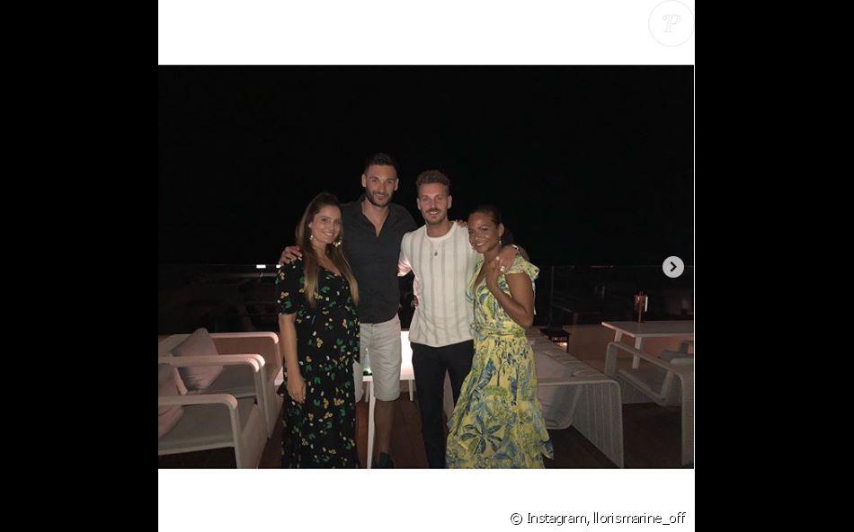 M. Pokora et Christina Milian passent la soirée avec Marine et Hugo Lloris à Ramatuelle, le 5 juillet 2019.