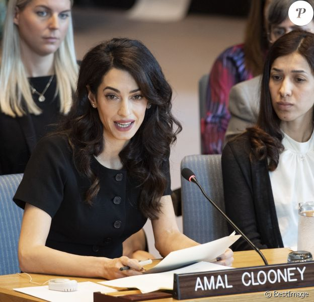"Amal Clooney, Nadia Murad - Conférence ""Women and peace and security: Sexual vialence in conflict"" aux Nations Unies à New York. Le 23 avril 2019"