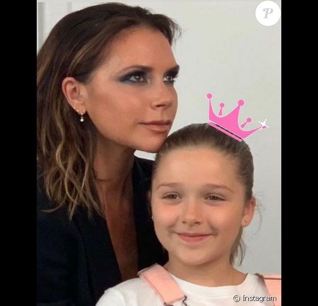 Victoria Beckham et sa fille Harper. Juillet 2019.