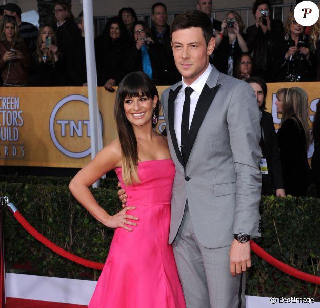"""Cory Monteith, Lea Michele - People arrivant a la 19eme ceremonie des """"Screen Actors Guild Awards"""" a Los Angeles, le 27 janvier 2013."""