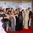 L'équipe de Glee lors des Golden Globe, le 16 janvier 2011.