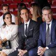 Erika Choperena avec sa fille Mia et des membres de sa famille assistent à la présentation d'A. Griezmann à son nouveau club le FC Barcelone. Barcelone, le 14 juillet 2019.