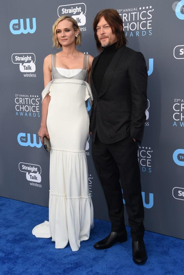"""Diane Kruger et son compagnon Norman Reedus lors des """"23ème Critics Choice Awards"""" au Barker Hangar à Los Angeles, le 11 janvier 2018. © Chris Delmas/Bestimage"""