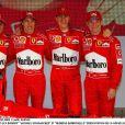 Felipe Massa, Luca Badoer, Michael Schumacher et Rubens Barrichello lors de la présentation de la nouvelle Ferrari en février 2003.
