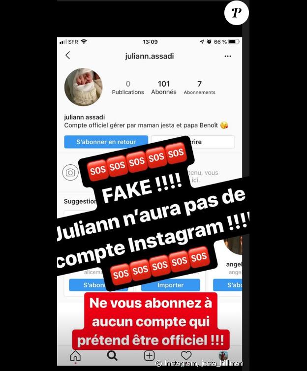 "Jesta de ""Koh-Lanta"" avertir ses fans sur le compte fake de son fils Juliann - mardi 16 juillet 2019"
