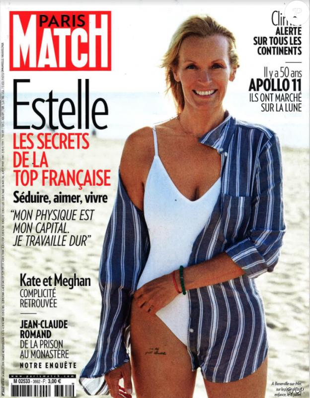 Estelle Lefébure en couverture du Paris Match, en kiosques le 18 juillet 2019.