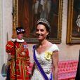 Kate Middleton (en robe Alexander McQueen) et le Secrétaire du Trésor des Etats-Unis, Stephen Mnuchin - Donald Trump reçu par la reine Elisabeth II d'Angleterre lors d'un dîner d'Etat à Buckingham Palace, à Londres. Ce banquet fut organisé dans le cadre d'une visite de trois jours dans la capitale britannique du président américain. Le 3 juin 2019