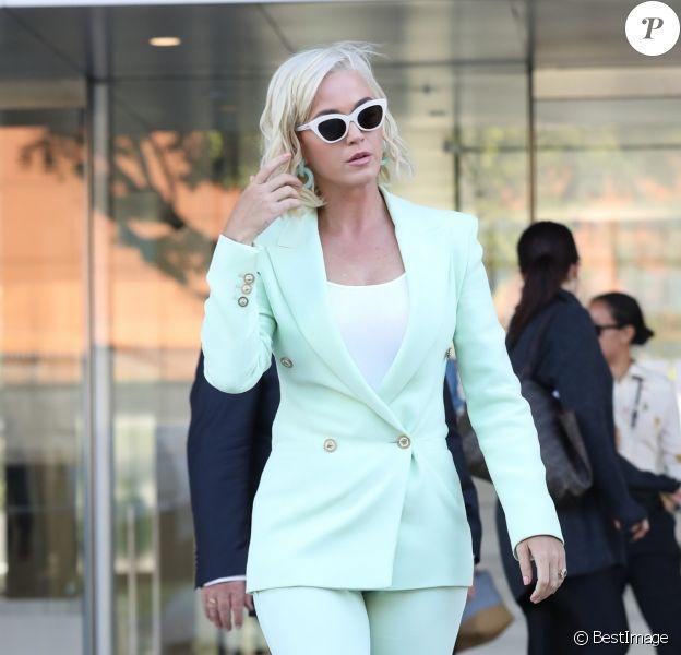 """Katy Perry s'est rendue au tribunal pour répondre d'accusations de plagiat, portée par Markus Gray (aka Flame) pour sa chanson """"Dark Horse"""" à Los Angeles, le 18 juillet 2019."""