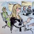 """Exclusif - Illustrations de Katy Perry et Marcus Gray (dit """"Flame"""") au tribunal, où Katy répond d'accusations de plagiat. Los Angeles, le 18 juillet 2019."""