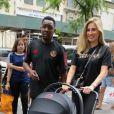 Exclusif - Maria Salaues, femme de Paul Pogba, avec leur fils en poussette à New York, le 2 juillet 2019.