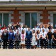 Le roi Felipe VI d'Espagne et la reine Letizia d'Espagne rencontrent les équipes espagnoles de waterpolo (hommes et femmes) à l'occasion de leur participation aux championnats du monde de natation, au Palais de Zarzuela à Madrid, le 30 juillet 2019.