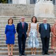 La reine Letizia d'Espagne arrive à la bibliothèque nationale d'Espagne pour visiter les salles Maria Moliner et Larra, à Madrid le 30 juillet 2019.