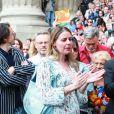 Stanislas Nordey (fils du défunt), Olivia Mokiejewski (fille du défunt), la famille et les proches - Sorties des obsèques de Jean-Pierre Mocky en l'église Saint-Sulpice à Paris. Le 12 août 2019.