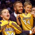 En décembre 2008, David emmène ses adorables fils voir un match des Lakers ! Quelle complicité... Les petits ont déjà tout de leur papa... surtout le joli sourire !