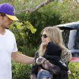 Josh Duhamel avec sa femme Fergie et leur fils Axl Jack se rendent au domicile d'Oliver Hudson a Brentwood le 12 janvier 2014.