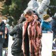 Jennifer Lopez, Constance Wu - Sur le tournage du film Hustlers au cimetière de Woodlawn, New York, le 2 avril 2019.