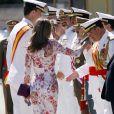 Letizia d'Espagne, lors de la dernière journée de l'Académie des Forces Navales espagnoles, à San Fernando, en Espagne, le 7 juillet 2009 !