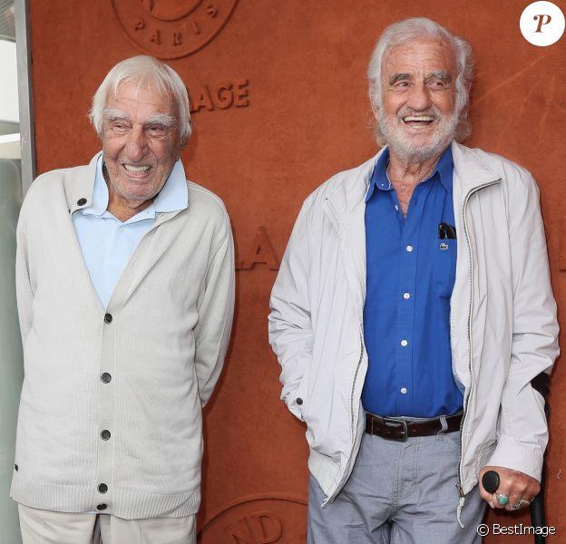 Charles Gérard et Jean-Paul Belmondo au village lors des internationaux de tennis de Roland Garros à Paris le 8 juin 2018. © Cyril Moreau / Bestimage
