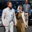Meghan Markle, duchesse de Sussex, et le prince Harry ont visité la mosquée Auwal, la plus ancienne d'Afrique du Sud, dans le quartier de Bo-Kaap au Cap, le 24 septembre 2019 dans le cadre de leur visite officielle et de l'Heritage Day, un jour férié dans le pays.