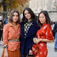 Camila Coelho, Bruna Marquezine et Aimee Song arrivent au Grand Palais pour assister au défilé Chloé, collection printemps-été 2020. Paris, le 26 septembre 2019. © Christophe Clovis - Veeren Ramsamy / Bestimage