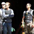 Michael Biehn et Jon Huertas sur le tournage Dark Blue à Los Angeles
