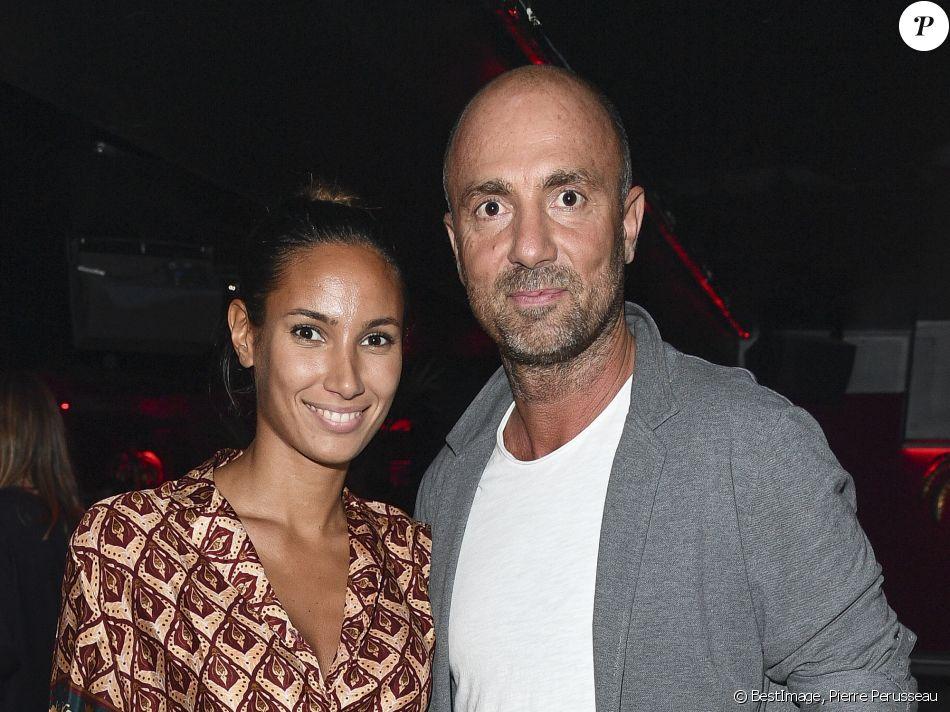 Christophe Dugarry et sa compagne Yasmina - Opening du Roxie Club à Paris le 10 octobre 2019. © Pierre Perusseau/Bestimage