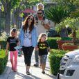 Exclusif - Megan Fox, son mari Brian Austin Green et leurs 3 enfants Bodhi, Journey et Noah sont allés faire du shopping en famille à Calabasas, Los Angeles, le 26 avril 2019.