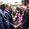 Le président de la république Emmanuel Macron débarque d'un intercepteur de la police aux frontières, le 22 octobre 2019, à Mamoudzou, Mayotte. © Stéphane Lemouton / Bestimage
