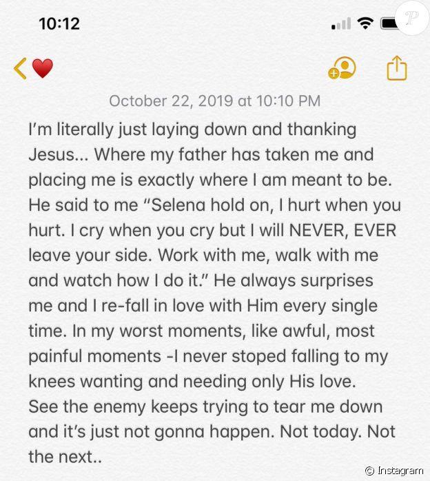 La réponse de Selena à Hailey Baldwin (octobre 2019).