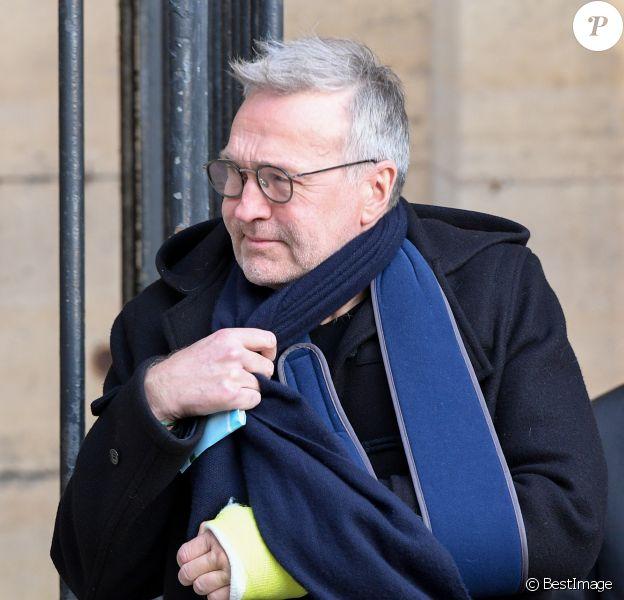 Laurent Ruquier - Sorties des obsèques de Marie Laforêt en l'église Saint-Eustache à Paris. Le 7 novembre 2019.