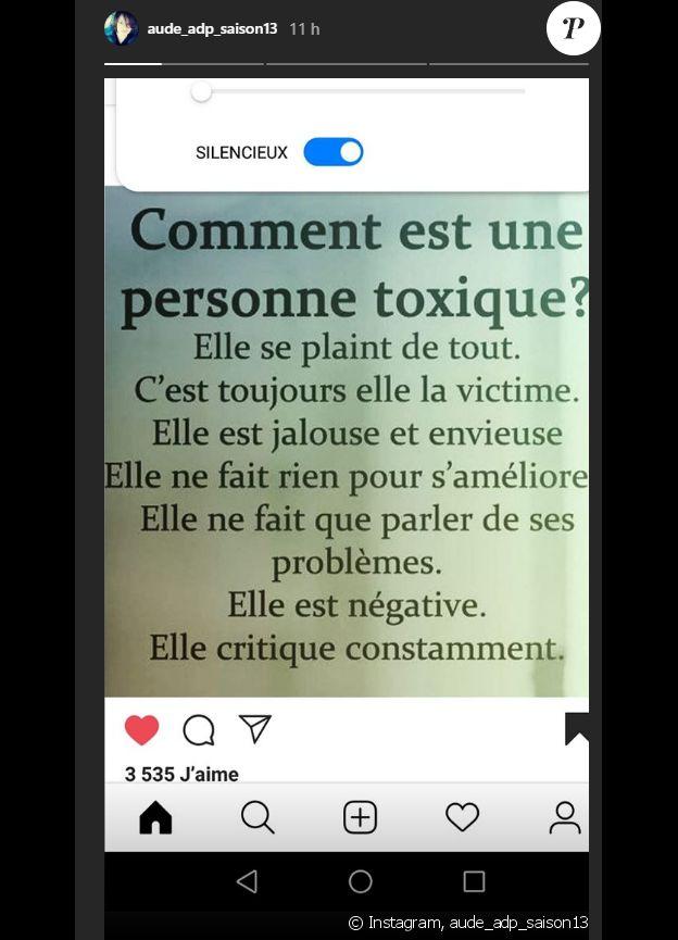 Aude (L'amour est dans le pré) via sa story Instagram - 20 novembre 2019