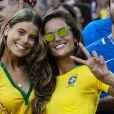 Exclusif - Carol Cabrino (femme de Marquinhos) et Izabel Goulart (la compagne de Kévin Trapp) - Célébrités dans les tribunes lors du match de coupe du monde opposant le Brésil à la Serbie au stade Otkrytie à Moscou, Russie, le 27 juin 2018.