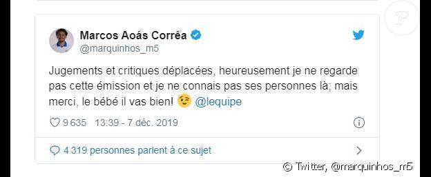 """Marquinhos a exprimé son indignation face aux propos tenus par Guy Roux dans """"L'Equipe du soir"""" le 6 décembre 2019."""